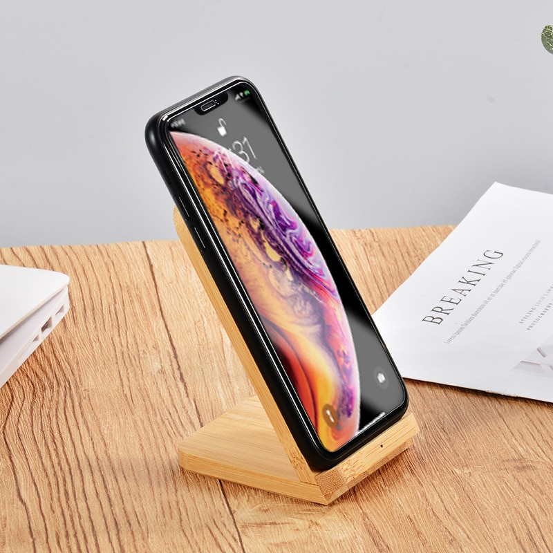 Qi Wireless Charger Induction Charging Docking Station Chargeur Bamboo Wood Charger Station For Iphone12 Xiaomi Huawei Samsung