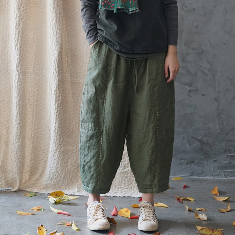 SCUWLINEN Women Winter Trousers 2020 Vintage Embroidery Elastic Waist Thick Warm Casual Loose Linen Cotton Padded Pants P303