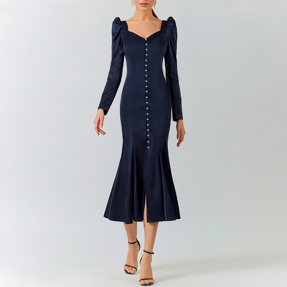 Woman Dress 2021 Spring Elegant Sexy V-Neck Evening Party Long Dress Puff Sleeve Navy Blue Single-Breasted Mermaid Satin Dress
