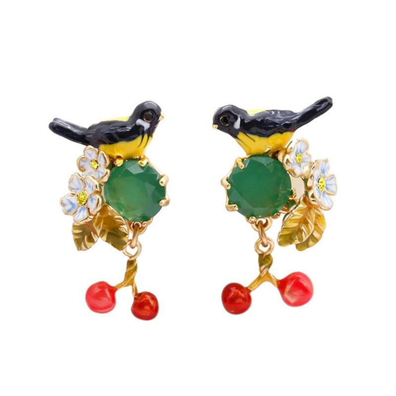 New trendy European and American fashion enamel glaze Oriole bird emerald cherry stud earrings niche design dangle earrings