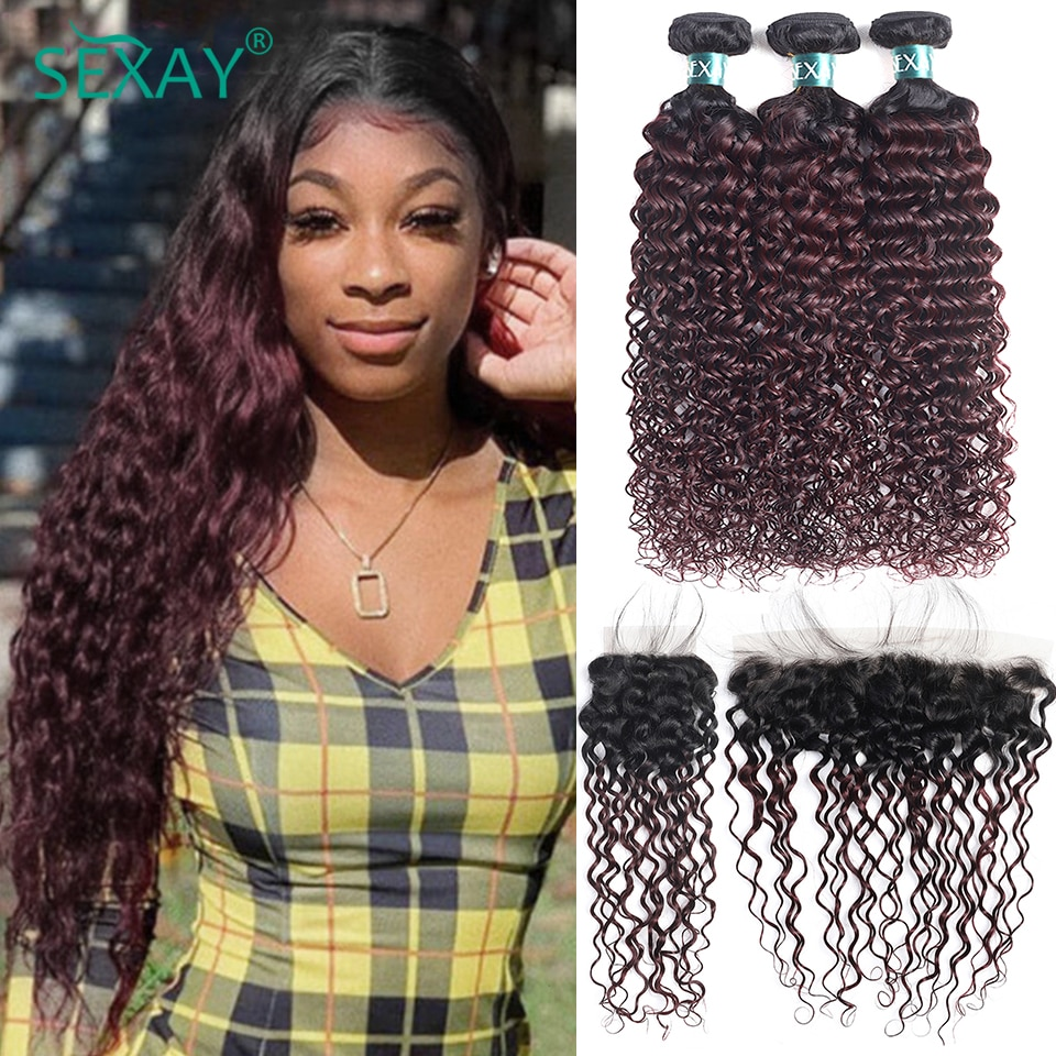 Sexay Water Wave Burgundy Bundles With Frontal 10A Brazilian Ombre 1B 99J Wine Red Human Hair Bouncy Curly Bundles With Closures