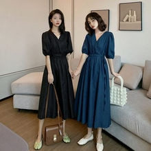 Women Short Sleeve Dress Elegant Solid Lace-up Dresses V-neck Fashion Loose Korean A-line Mid-calf L