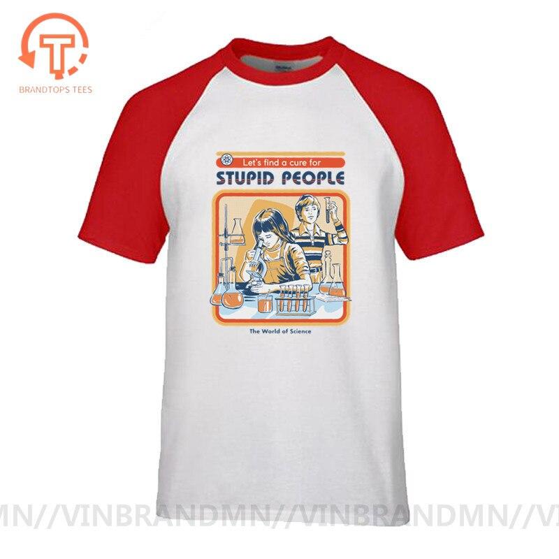 Retro Ciência UMA Cura para As Pessoas Estúpidas Impressão Funny T Shirt Experimento Químico Encabeça Tshirt Homme Mens T Shirts Ropa de Hombre