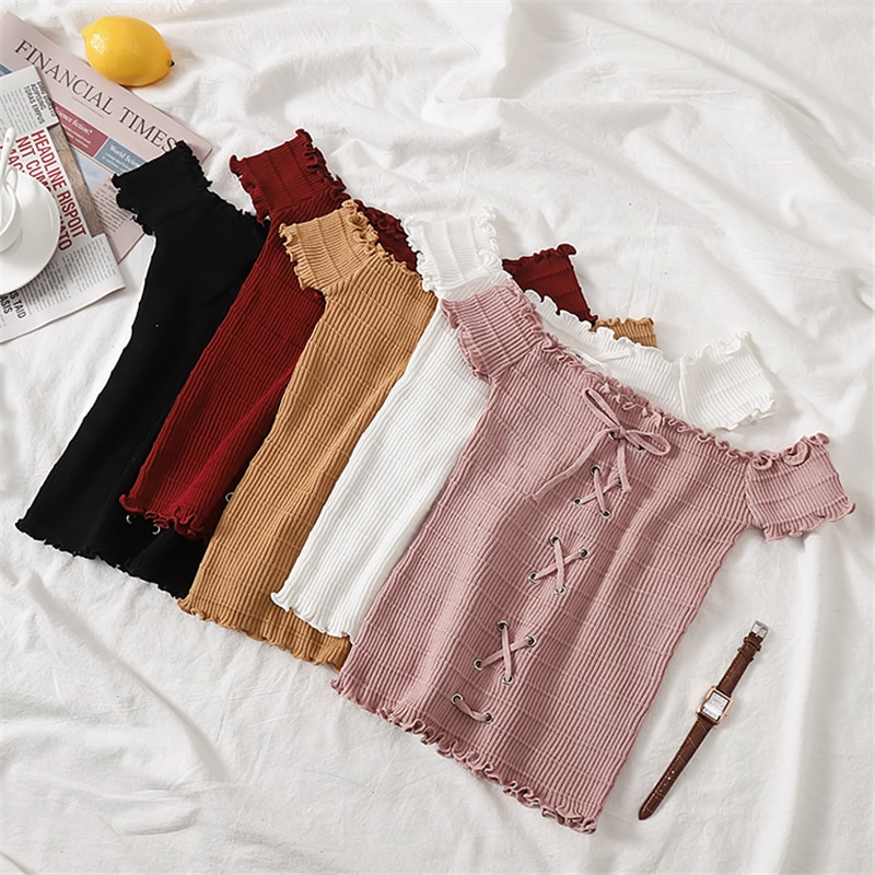GLAUKE primavera 2020 prendas de punto coreanas slim short suspender hombro manga corta mujeres base abrigo moda chaleco Halter Casu