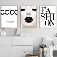 WTQ     affiches de levres pour femmes  decoration de mode  affiches et imprimes de toile  peinture de Coco  decor mural  Art mural  decor de salle  decoration de maison
