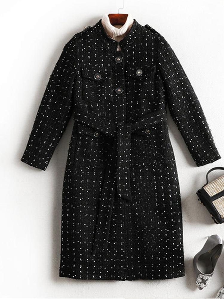 Winter Woolen Women's Clothing Plus Fertilizer Plus Mid-Length Fat Sister Snowflake Dot Coat Free Sh