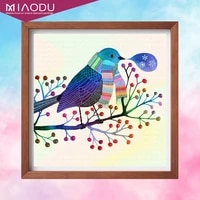 miaodu cartoon diamond painting animal square 5d diamond embroidery bird rhinestones mosaic cross stitch home decor