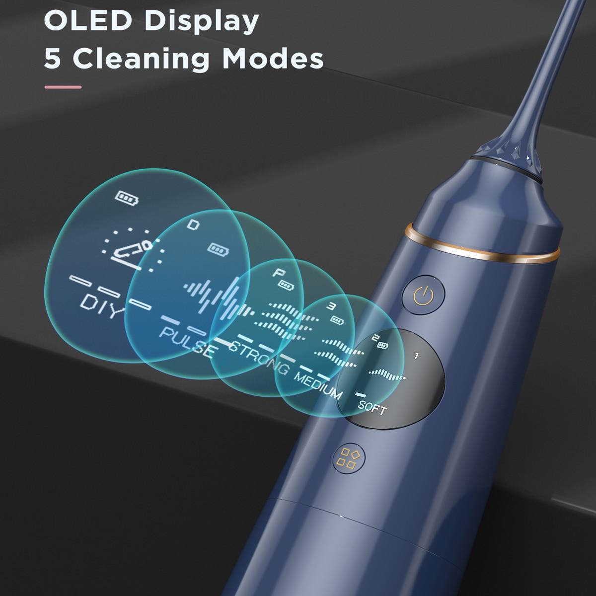 Liberex Water Flosser Oral Irrigator Portable Dental Water 5 Nozzles Water Jet 5 Cleansing Modes IPX7 Waterproof Teeth Cleaner enlarge
