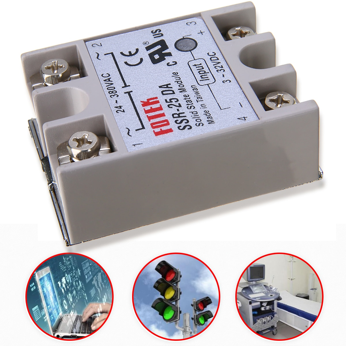 SSR-25 DA White Shell 3-32V DC Input Voltage 24-380V AC Output Voltage 25A Output Current Control Solid State Relay