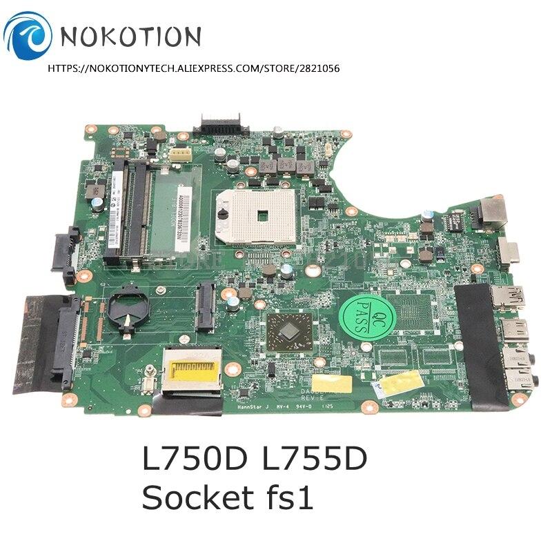 Nokotion damageable a000081230 placa mãe do portátil para toshiba satélite l755d l750d placa principal ddr3 soquete fs1
