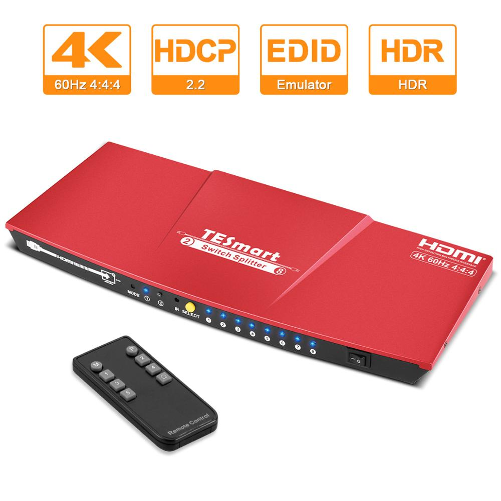 TESmart switch HDMI splitter 2 in 8 output HDMI switch 4K 60Hz 2.0.HDR