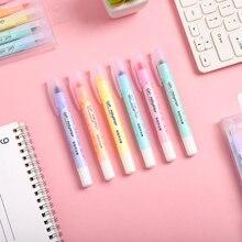 6pcs/set Solid Painted light stick series Highlighter Color modelling Fluorescent pen kawaii Marker pen for bullet joural School