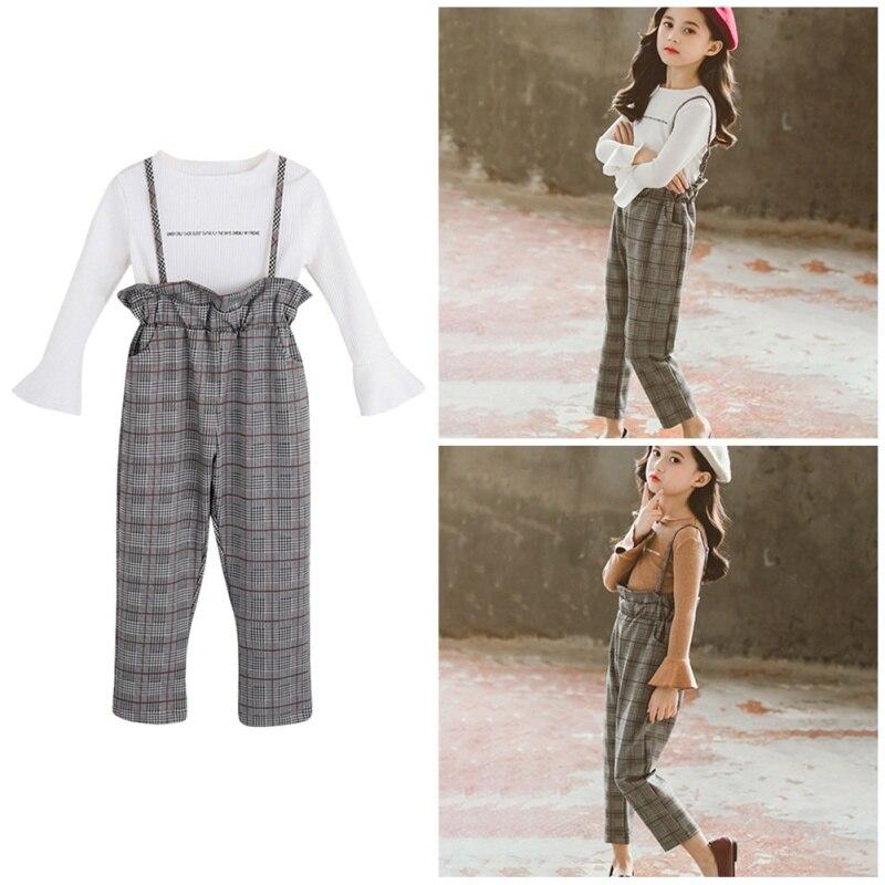 Otoño primavera bebé niña manga larga Flare camiseta blusa tirantes Plaid Pats moda Casual conjunto de trajes con falda versión coreana