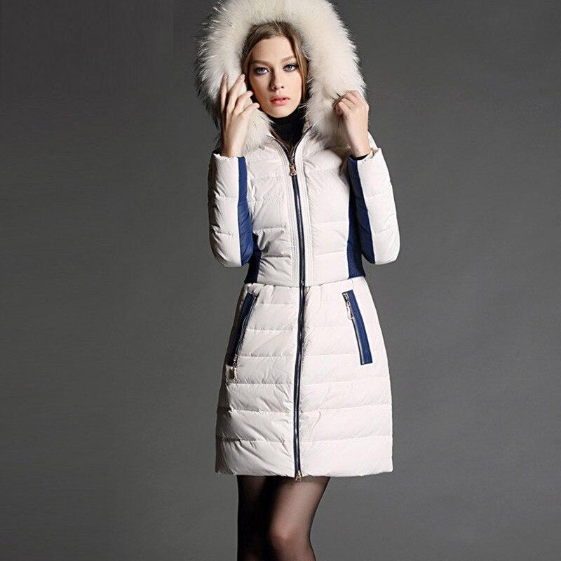 FYYIYI معطف الشتاء للنساء ضئيلة رقيقة مقنعين 90% أسفل سترة سستة منتظم التباين اللون مكتب سيدة الفراء الإناث الملابس
