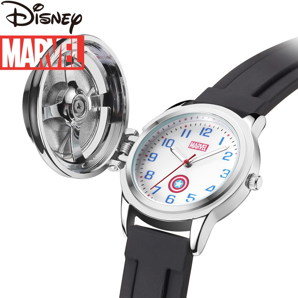 Original Marvel Captain America Shield Watch Flip Spider-Man Quartz Watch Child Watch Student Gift Kids Fashion Watch for Kids