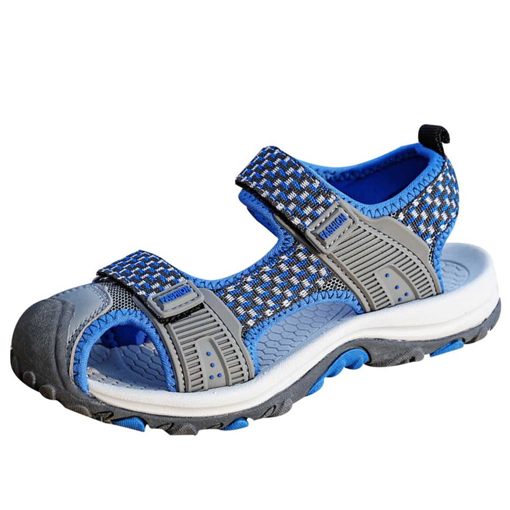 Kids Covered Toe Sandals Anti Kick Boys Girls Mesh Shoes Summer Non Slip Breathable Beach Sneakers Child Outdoor Flat Footwear