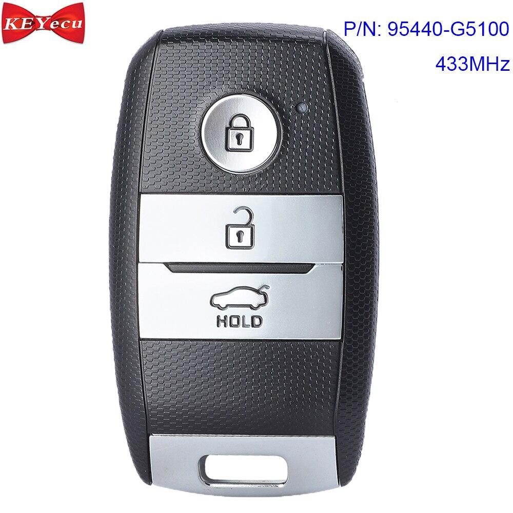 KEYECU pour Kia Niro 2016 2017 2018 proximité sans clé entrée Go Smart télécommande clé Fob P/N 95440-G5100 433MHz ID47 puce