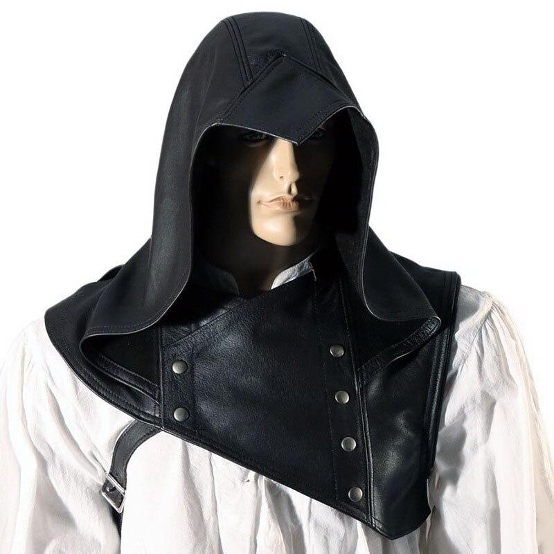 Capuz vermelho outlaw cowl chapéu masculino medieval larp couro arqueiro assassino traje armadura cabeça de halloween engrenagem xale manto capa para adulto