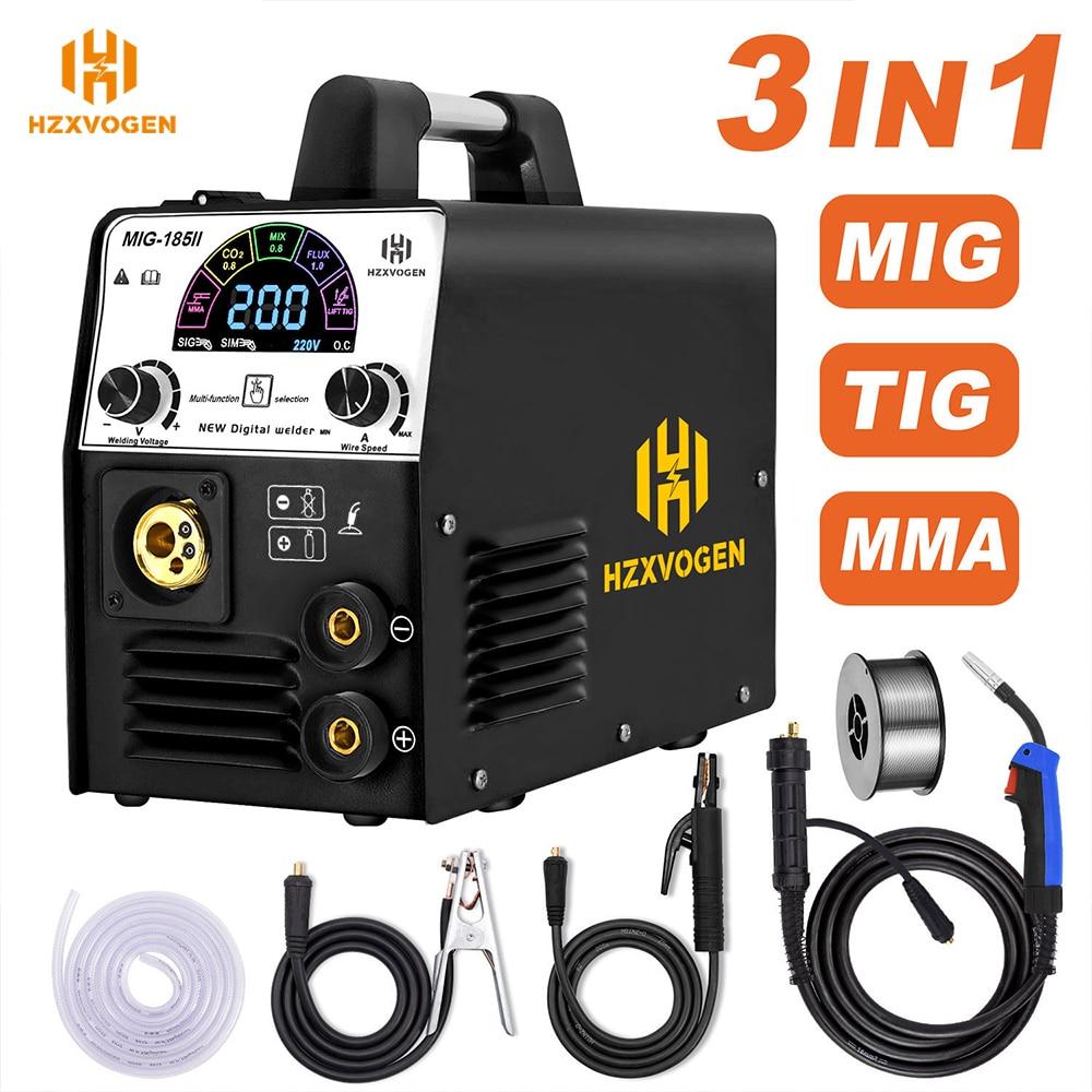110V/220V HZXVOGEN MIG185-II Semi-automatic Welding Machine MIG TIG ARC/MMA 3 In 1 Mig Welder 1KG Self-shielded Flux Cored