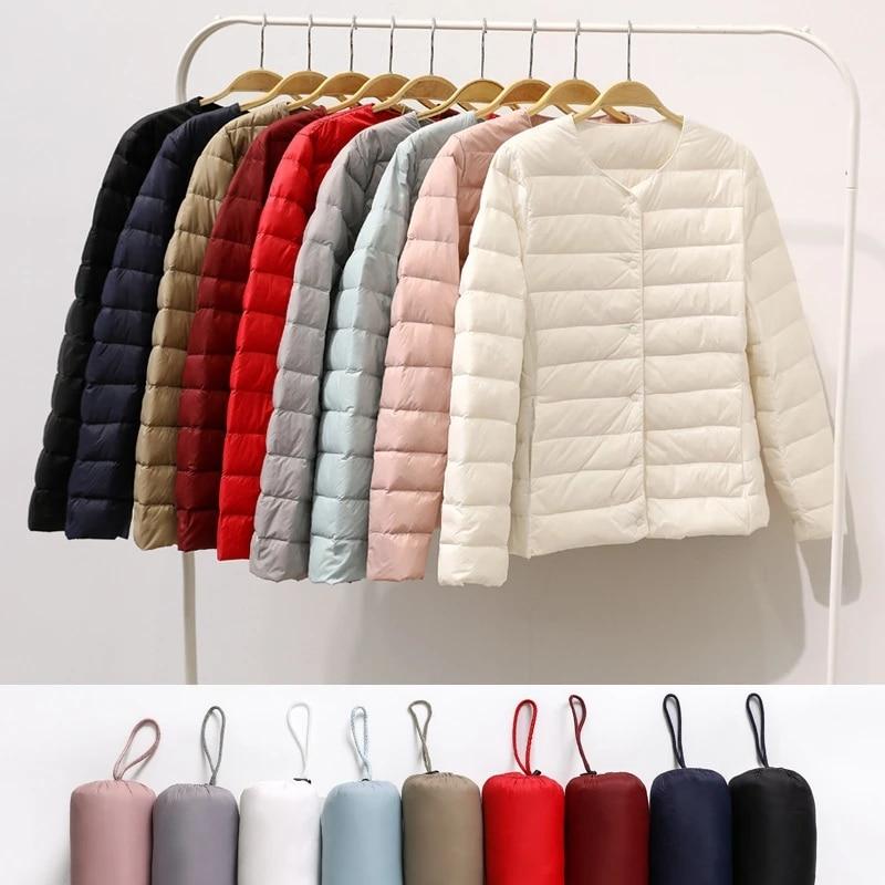 Новая легкая теплая куртка на утином пуху для женщин, женские пуховые куртки, осенне-зимние куртки для девочек