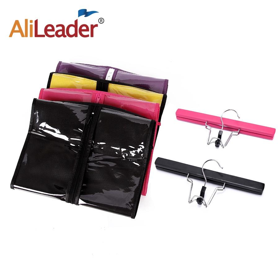 Alileader-حامل شعر مستعار رخيص مع حقيبة شعر مستعار ، غير منسوج ، مقاوم للغبار ، وصلات شعر ، وردي ، أسود ، 5-10 قطعة.