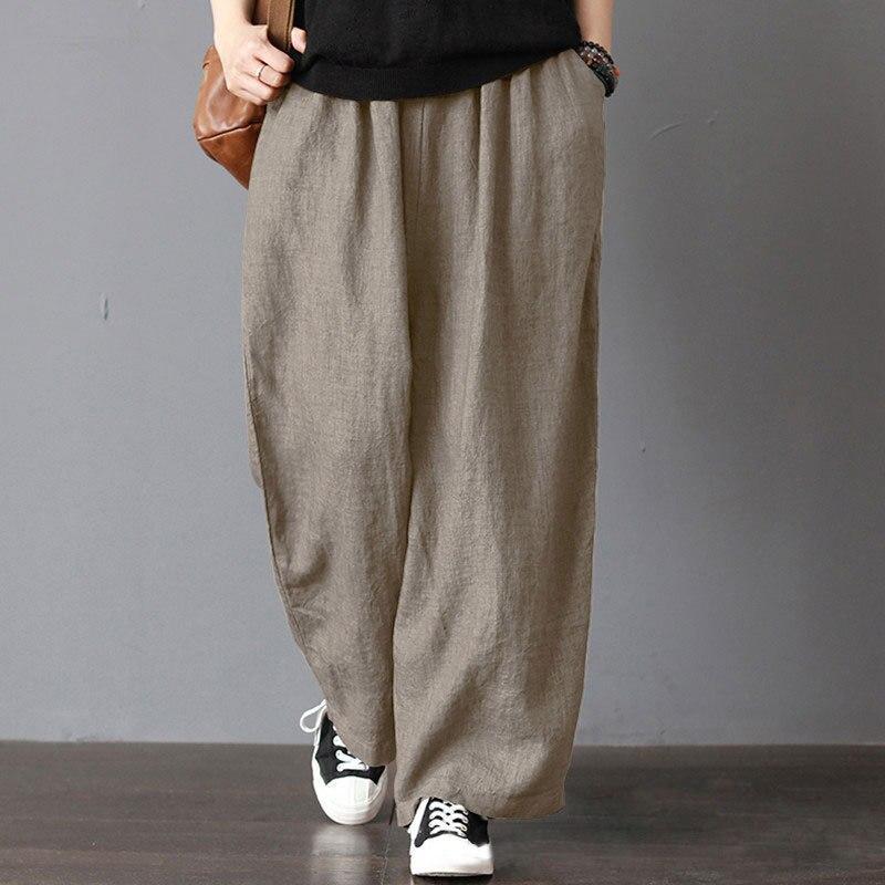 Брюки женские повседневные из хлопка и льна, свободные широкие штаны с эластичным поясом, однотонные женские уличные ретро брюки