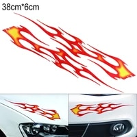 1 pair red 38 x 6cm pvc car stickers and decals large flame totem personalized car body bumper hood scratch stickers