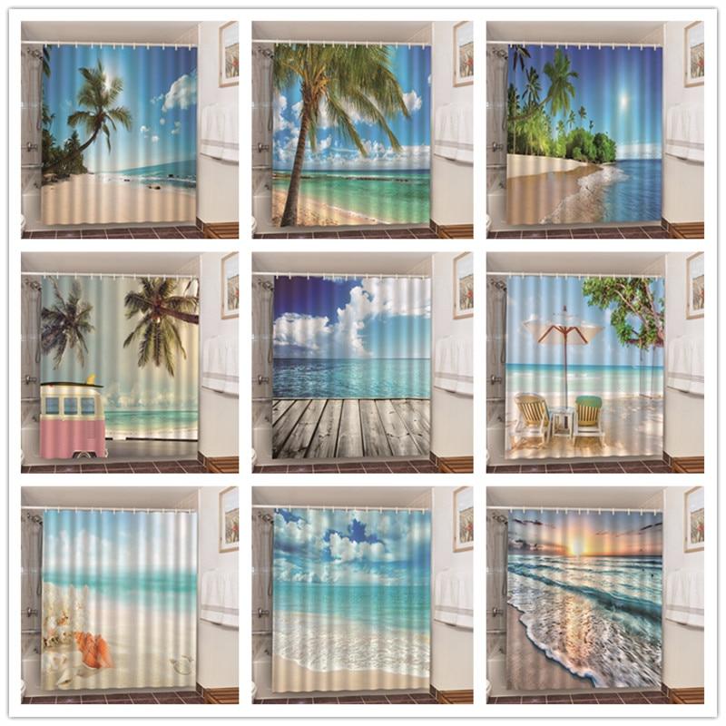 Summer Sunshine Beach Bath Product Bathroom Shower Curtains With 12 Hooks Home Hotel Decoration 3D Blackout Screen douchegordijn