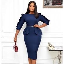 3XL grande taille printemps automne mode femmes africaines col rond robe Midi vêtements américains vêtements africains vêtements africains pour femme