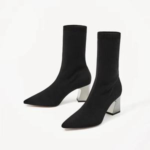 Coarse Elastic Force Sharp Knitting Autumn Short Woman Socks And High With All-match Single Boots