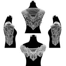 Ensemble de 4 pièces pour robe de mariée   De luxe, tissu en dentelle, fleurs appliquées, garniture brodée, col, Corsage, Scrapbooking, bricolage, fournitures de couture