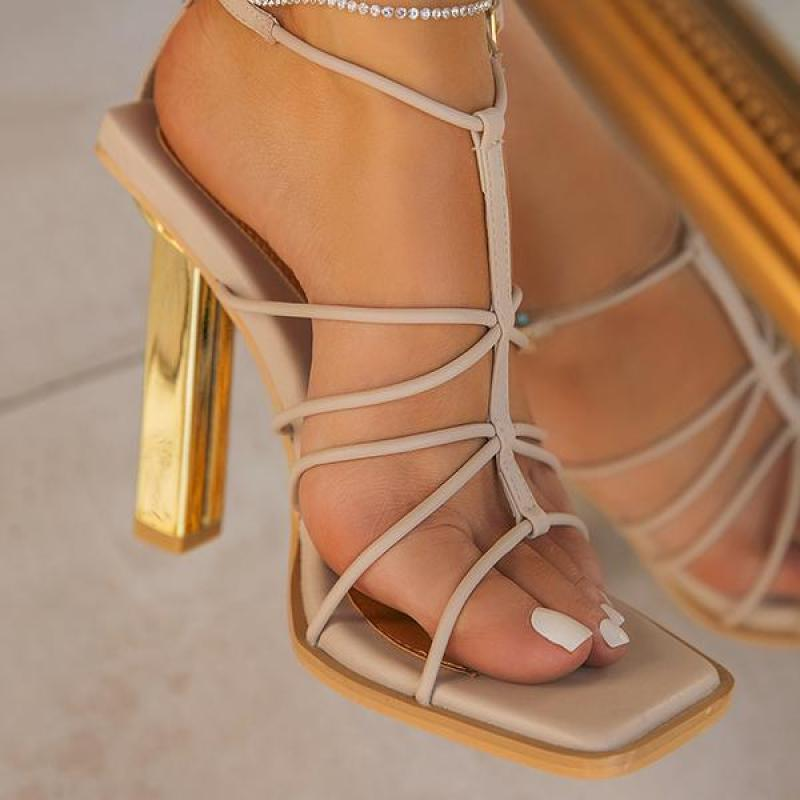 Women Sandals High Heels Fashion Buckle Strap Lace Up Casual Ladies Pumps Comfortable Square Toe Sex