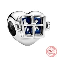 new 100 real 925 sterling silver heart window charms fit original pandora bracelet for women birthday fashion diy jewelry gift