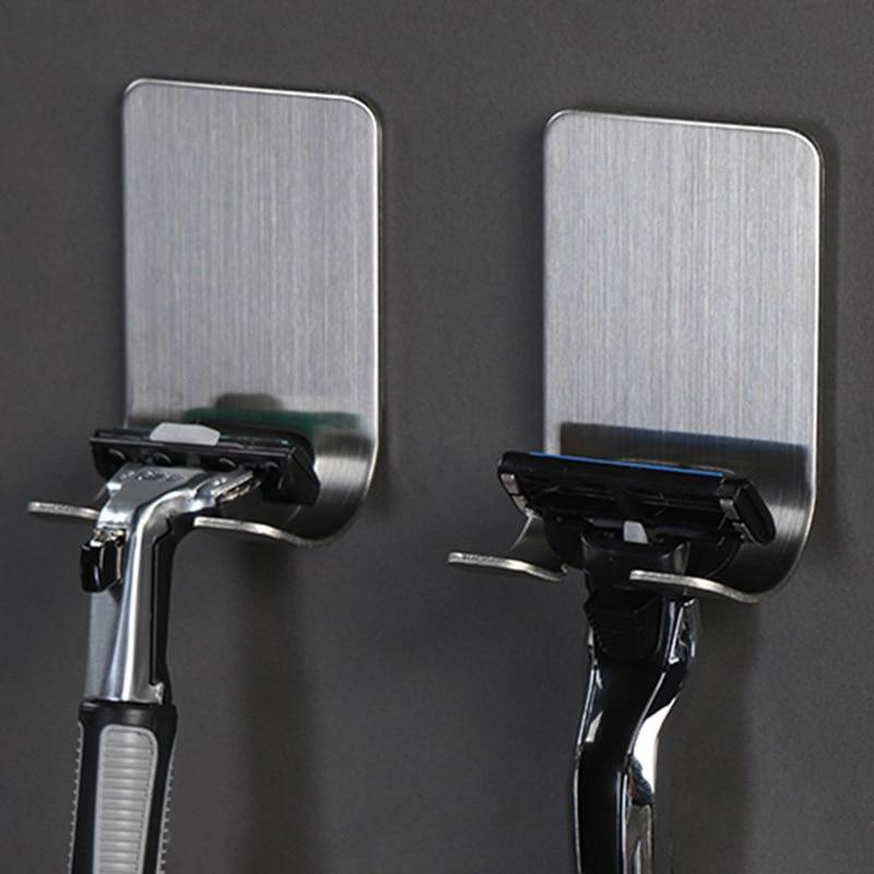 Тримач для бритви з нержавіючої сталі для чоловіків, полиця для гоління, гачок для бритви для ванної кімнати Настінна вішалка для зберігання клейових стійок