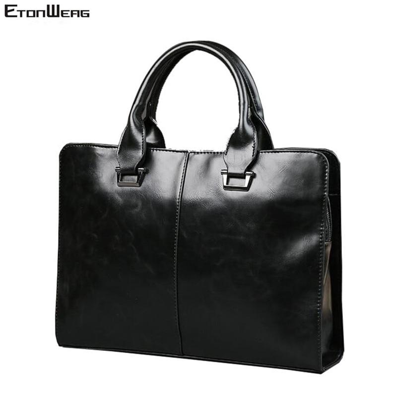 حقيبة مكتب أعمال من جلد البولي يوريثان للرجال ، حقيبة كمبيوتر محمول ، حقيبة حمل ، حقيبة كتف كبيرة صلبة ، لون أسود عتيق
