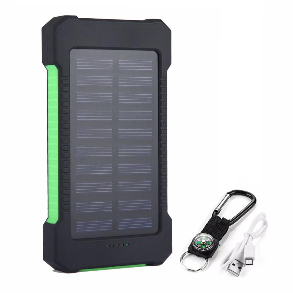 20000mah Portable Solar Power Bank Waterproof External Battery 20000 mah Powerbank Phone Battery Charger LED Light Pover Bank