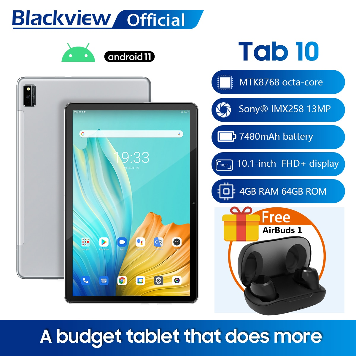 Blackview TAB 10 Android 11 Tablet 10.1'' MTK8768 Octa Core 1920x1200 4GB RAM 64GB ROM 4G Network 7480mAh Tablets PC Dual Wifi