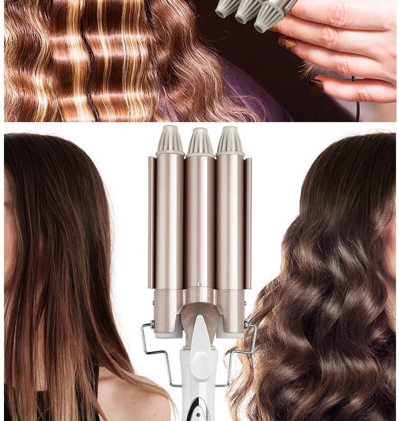 Rizadores de pelo, plancha rizadora profesional, plancha de pelo eléctrica, alisador de cerámica de estilismo, herramienta de secado con rodillo permanente de 3 barriles