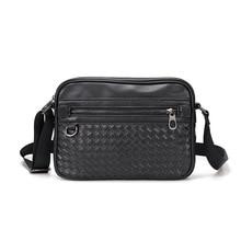 Designer Men's Crossbody Bag Leather Mini Handbag for Men Small Flap Handmade Woven Purses Black Cas
