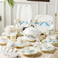 wedding guci jingdezhen bone china cutlery set gold rimmed bowl dish set household gift china cutlery set