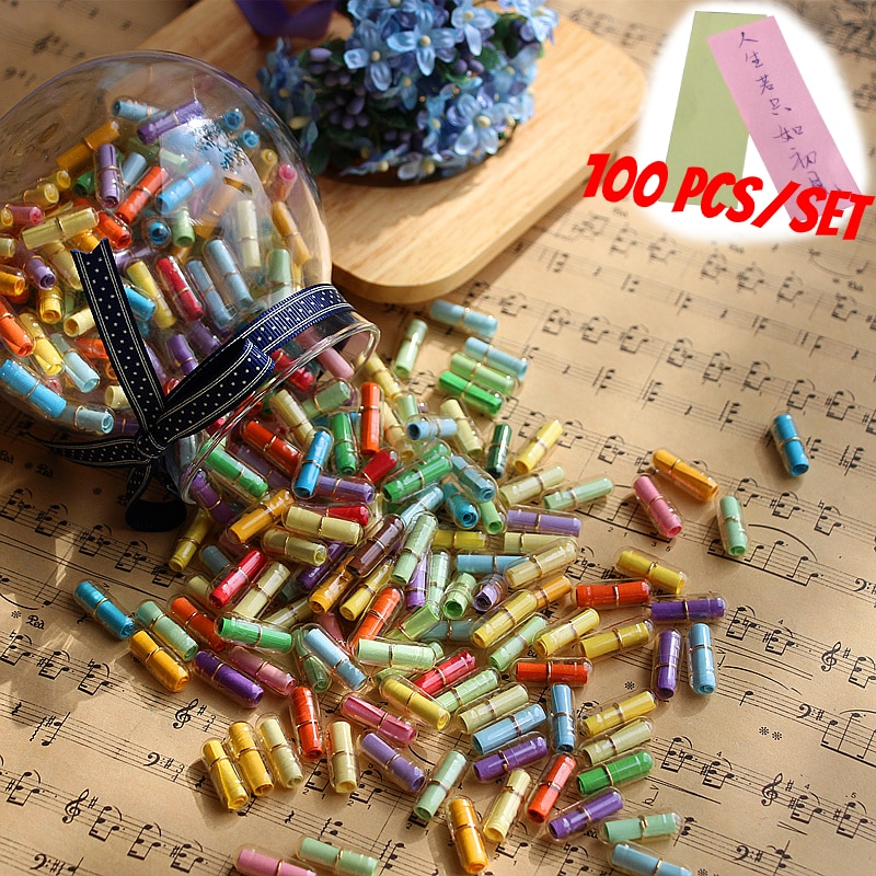 100pcs/Lot Message in Bottle Message Cute Capsule Letter Love Pill Clear Color Mini Wish Bottle Christmas present Holiday Gift