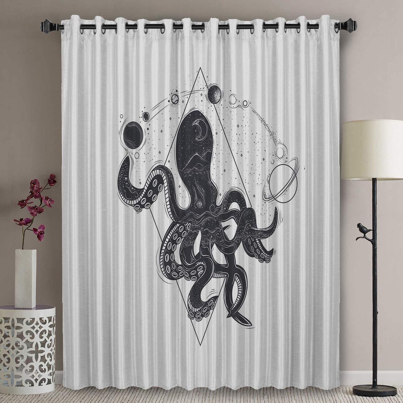 Amplio Panel de cortina de puerta de Patio de oscurecimiento térmico-24 pulgadas de largo ojal superior aislamiento térmico dormitorio oscurecimiento cortina-Negro
