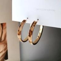 trendy jewelry hoop earrings hot selling vintage temperament metal golden plating leopard texture women earrings for girl