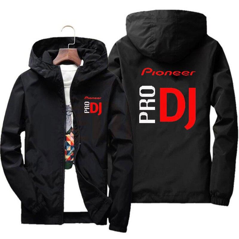 Ocasionales de los nuevos hombres de chaqueta bomber con capucha primavera y otoño Pioneer DJ Hip Hop de gran tamaño chaqueta de los hombres 7XL