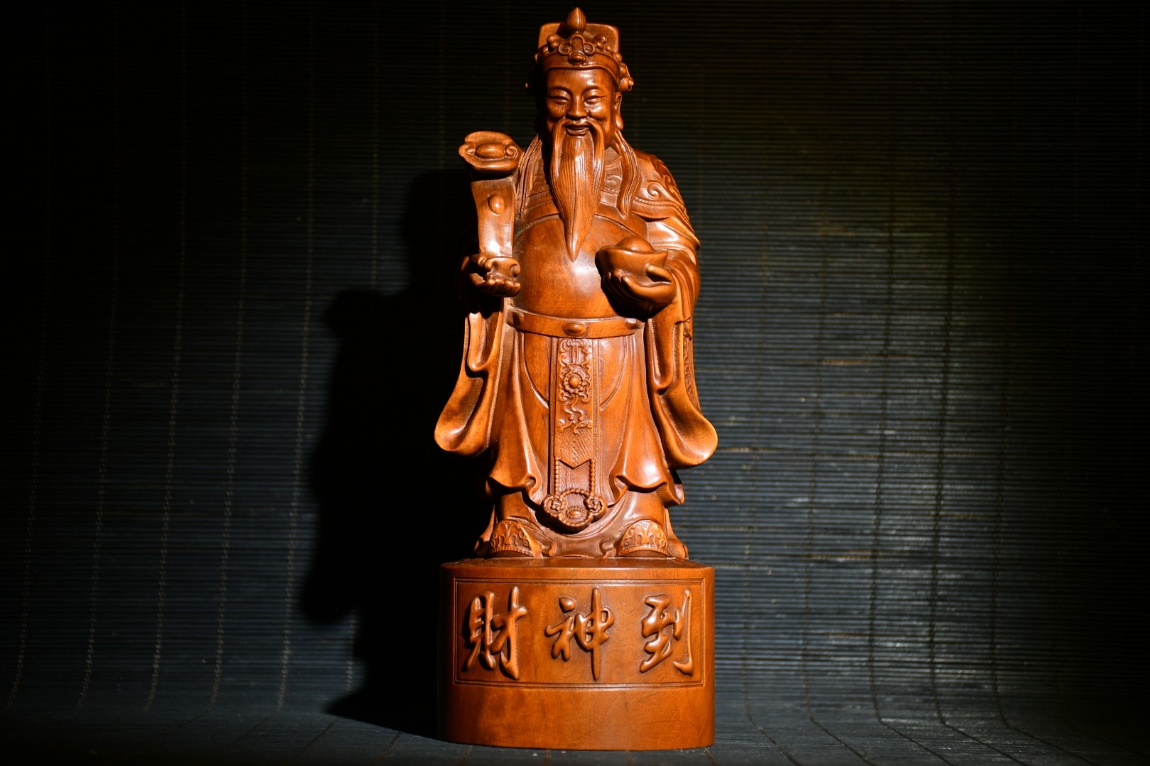 """Home Decor 8"""" China Lucky Old Boxwood Hand-carved Wishful Ingots God of Wealth Statue God of Wealth Lucky fortune"""