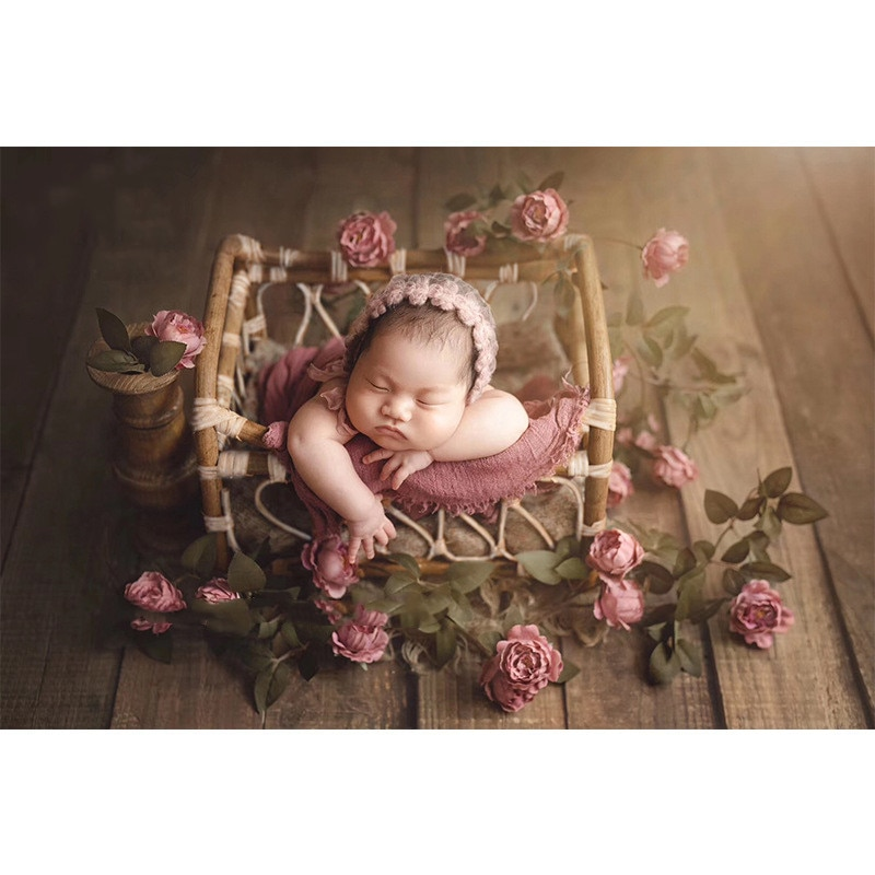 New Newborn Photography Props Vintage Woven Rattan Basket Baby Photo Shooting Props Frame Photo Studio Kids Toys for Children enlarge