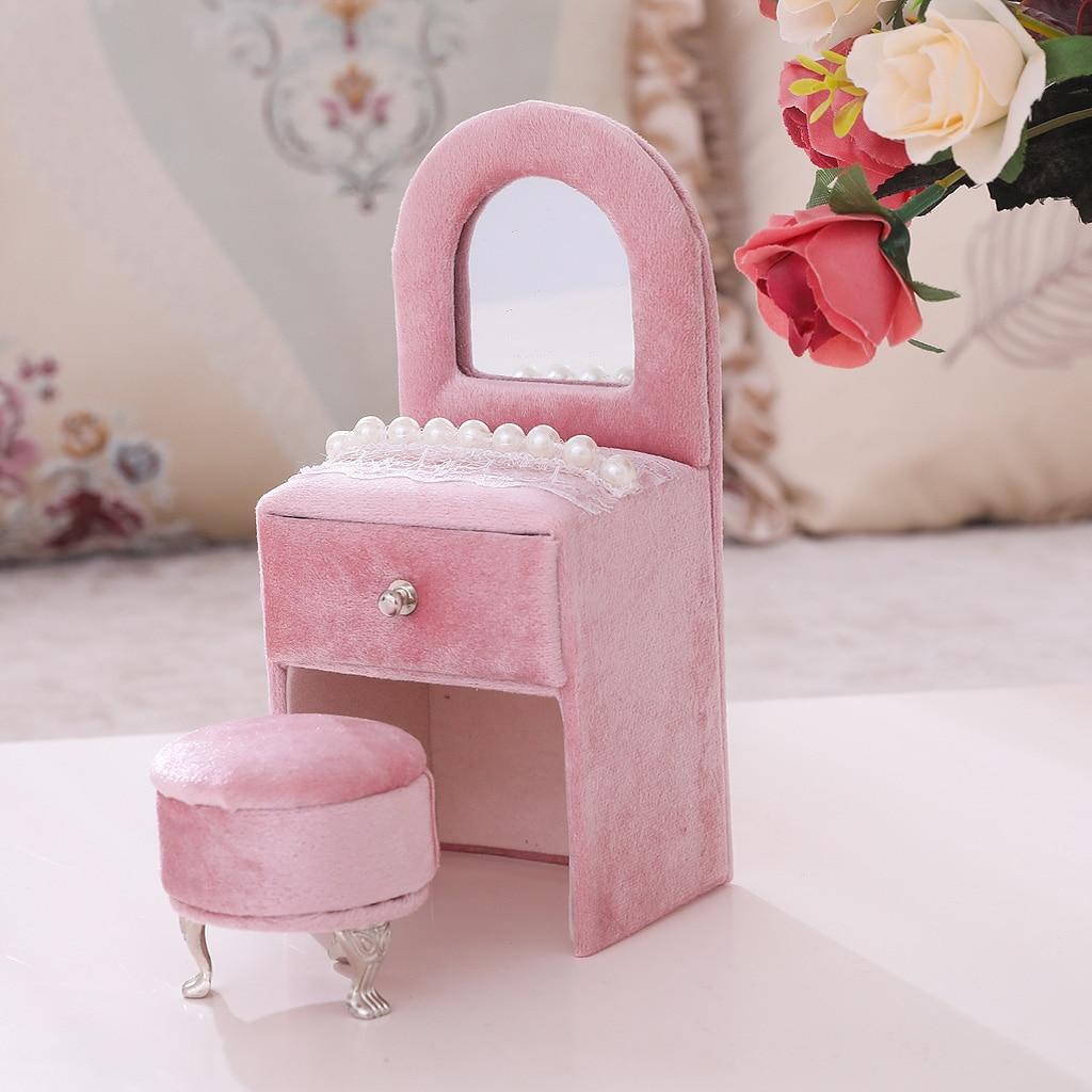 Креативный-Комод-Шкатулка-для-украшений-жемчужный-Кружевной-декор-органайзер-для-украшений-для-девочек