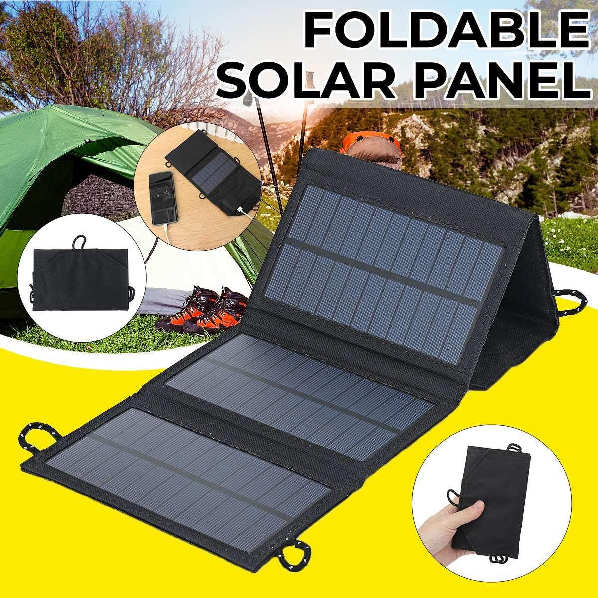 لوحة شمسية قابلة للطي 50 وات ، حزمة بطارية Usb ، جهاز شحن للتخييم والمشي لمسافات طويلة ، مصدر طاقة خارجي وداخلي