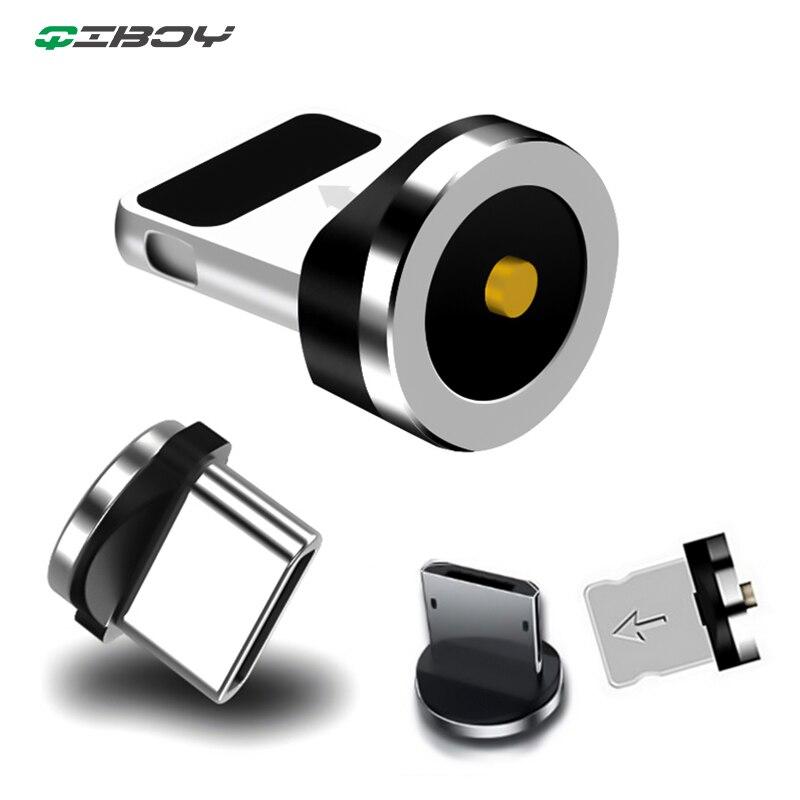 Enchufe magnético redondo Micro USB C/Tipo C/8 Pin para adaptador de enchufe de iPhone cargador magnético USB rápido carga (solo enchufe magnético)
