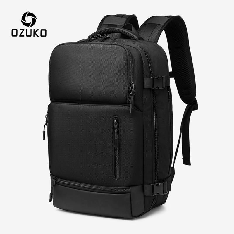 OZUKO سعة كبيرة الرجال على ظهره 15.6 بوصة محمول على الظهر الذكور مقاوم للماء حقيبة سفر USB شحن ظهره للرجال حقيبة الأمتعة